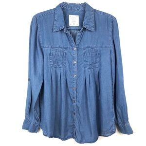 Style & Co Blue Chambray Pleated Button Up Shirt